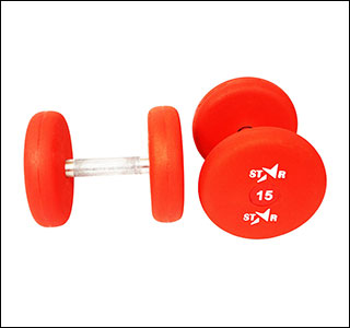 15 kg pu rubber coated red dumbbells in round shape