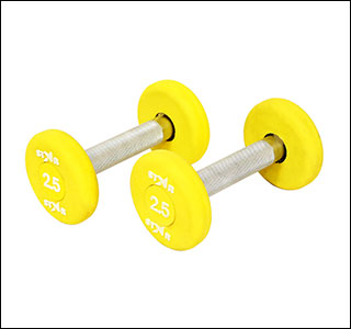 2.5 kg pu rubber coated yellow dumbbells in round shape