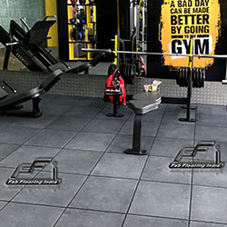 gym rubber flooring with grey tiles